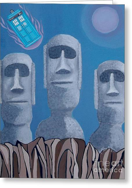 Easter Island Revisited Greeting Card by Anthony Morris