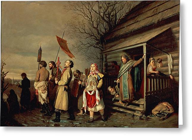 Easter Procession, 1861 Oil On Canvas Greeting Card by Vasili Grigorevich Perov