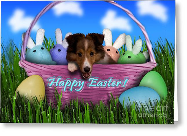 Easter Sheltie Puppy Greeting Card by Jeanette K