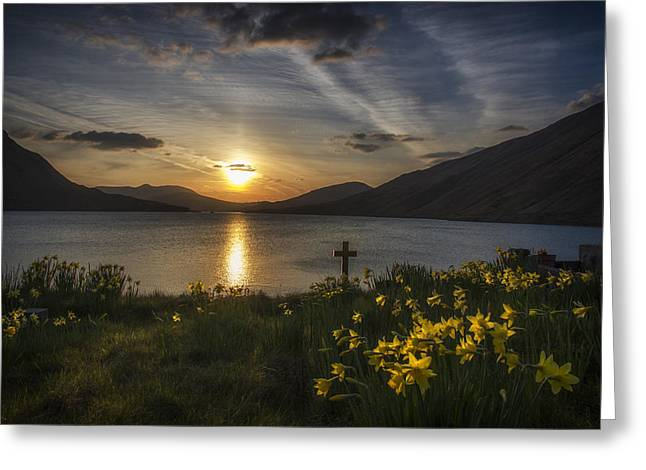 Easter Sunday Sunset Greeting Card by John Mee