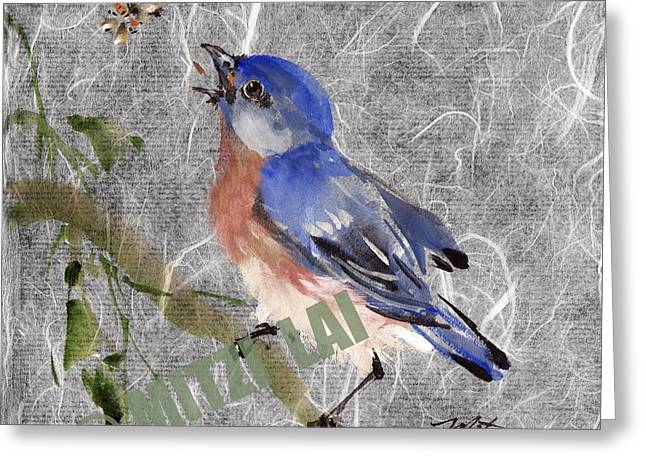 Eastern Blue Bird Greeting Card by Mitzi Lai