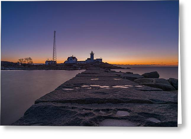 Eastern Point Lighthouse Just Before Sunrise Gloucester Ma Greeting Card
