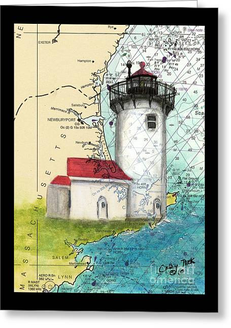 Eastern Pt Lighthouse Ma Nautical Chart Map Art Greeting Card