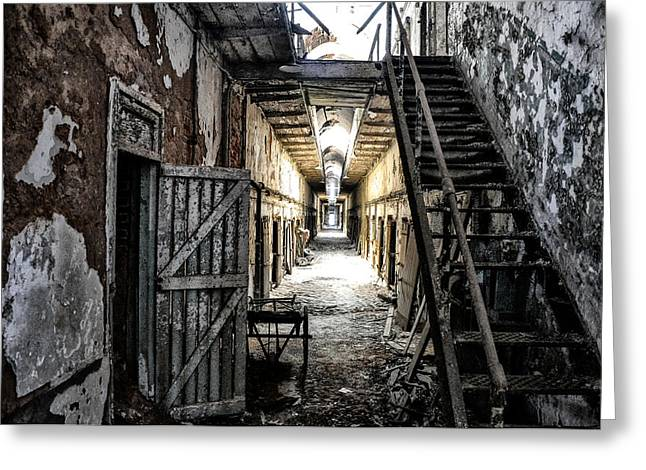 Eastern State Penitentiary In Ruins Greeting Card by Bill Cannon