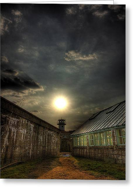 Eastern State Penitentiary Sunset Greeting Card by Kim Zier