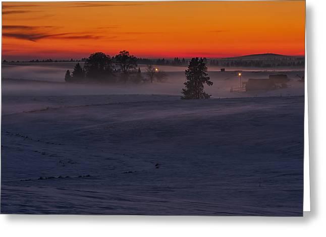 Eastern Washington Winter Sunset Greeting Card by Mark Kiver