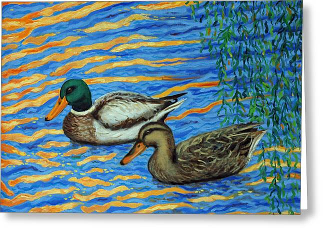 Greeting Card featuring the painting Eastlake Ducks by Dwain Ray
