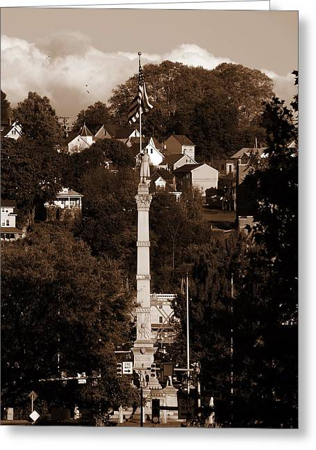 Easton Pa - Long View Of Civil War Monument In Sepia Greeting Card by Jacqueline M Lewis