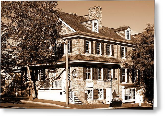 Easton Pa - Bachmann Publik House In Sepia Greeting Card by Jacqueline M Lewis