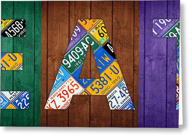 Eat Lettering Sign Kitchen Dining Room Recycled Vintage License Plate Art Greeting Card