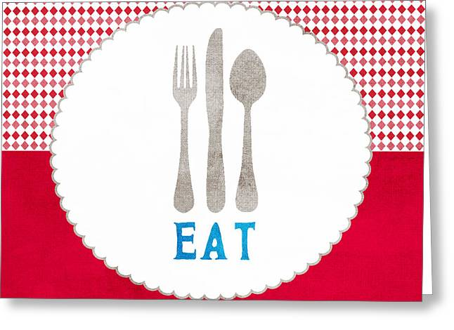 Eat Greeting Card by Linda Woods