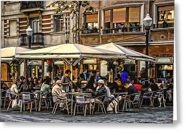 Greeting Card featuring the photograph Eating Out In Barcelona by Brian Tarr