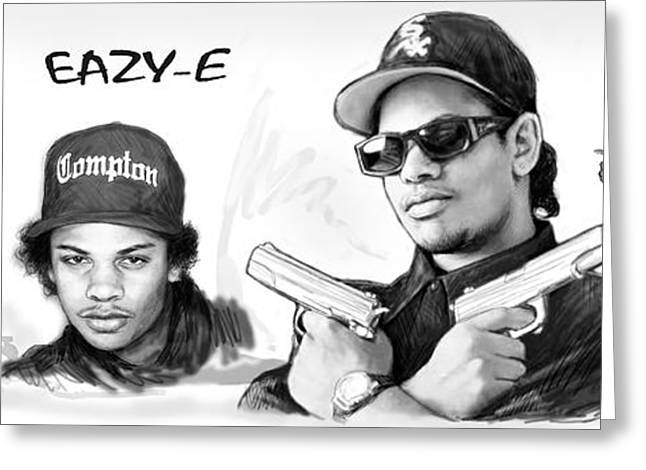 Eazy-e Art Drawing Sketch Poster Greeting Card by Kim Wang