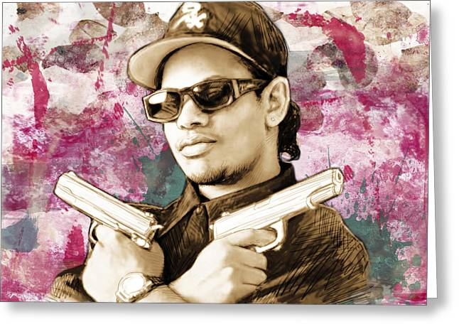 Eazy-e - Stylised Drawing Art Poster Greeting Card
