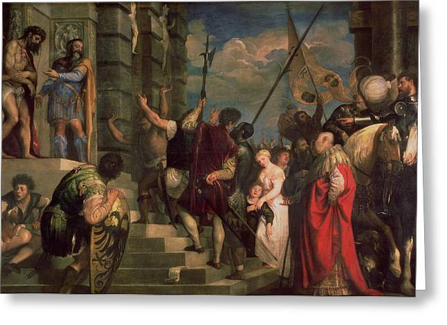 Ecce Homo, 1543 Oil On Canvas Greeting Card by Titian