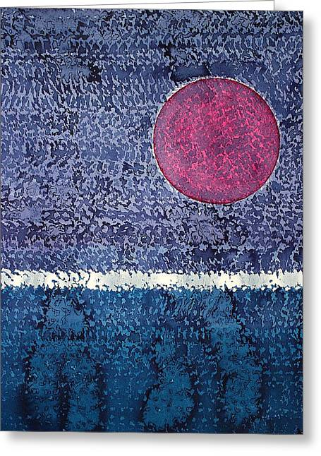 Eclipse Original Painting Greeting Card by Sol Luckman