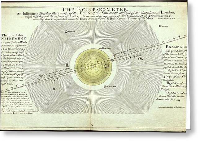 Eclipseometer For The 22 April 1715 Greeting Card by Museum Of The History Of Science/oxford University Images