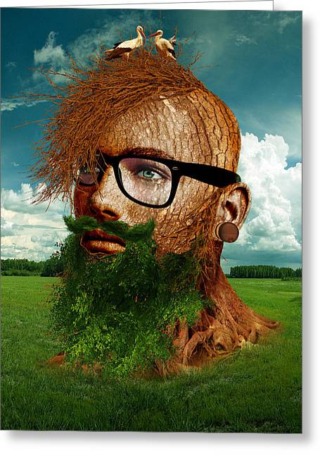 Eco Hipster Greeting Card by Marian Voicu