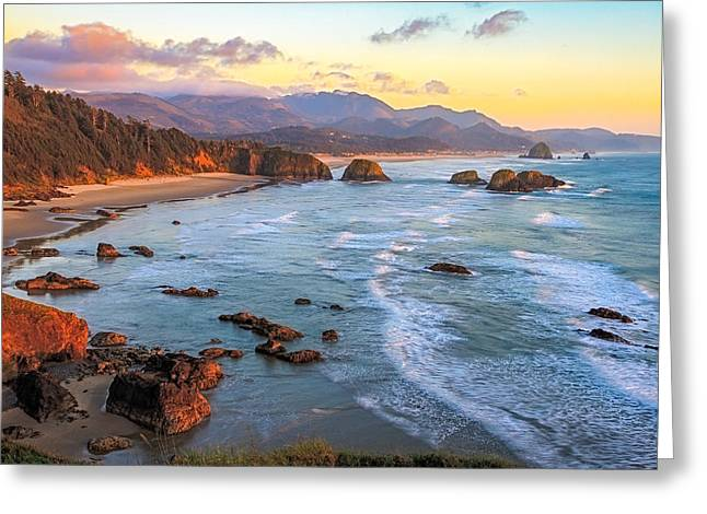Ecola Beach Sunset Greeting Card by Ken Stanback