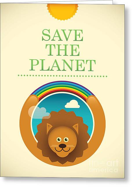 Ecology Poster With Comic Lion. Vector Greeting Card