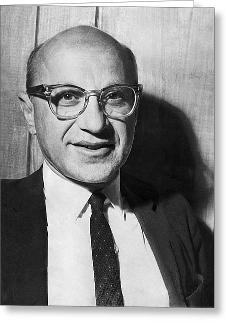 Economist Milton Friedman Greeting Card by Underwood Archives