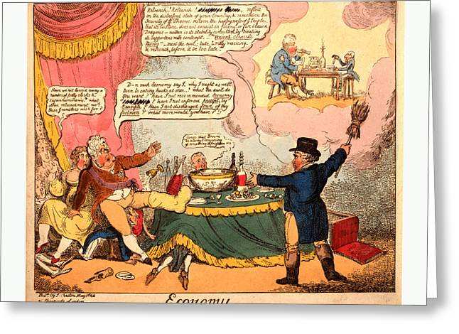 Economy, Cruikshank, George, 1792-1878, Artist, London Greeting Card by English School