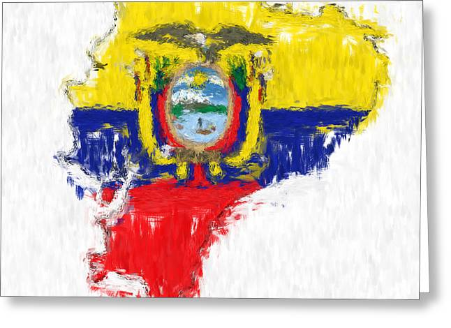 Ecuador Painted Flag Map Greeting Card by Antony McAulay