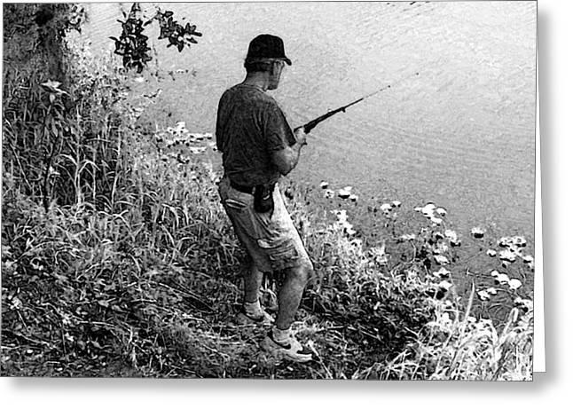 Ed Fishing Greeting Card by Lenore Senior and Sharon Burger