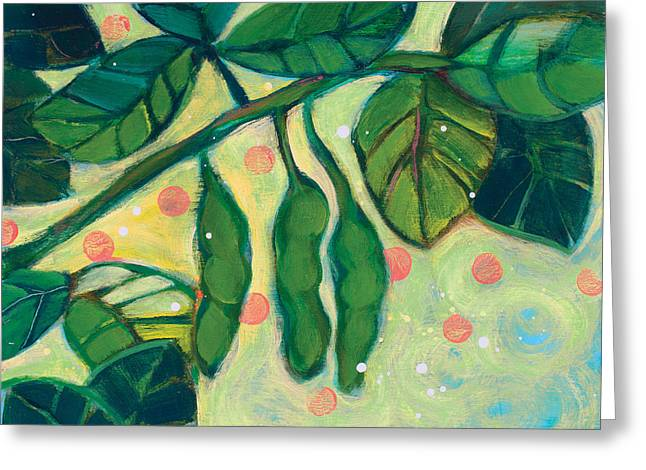 Edamame Pods Greeting Card by Jen Norton