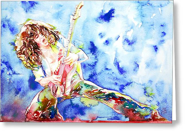 Eddie Van Halen Playing The Guitar.1 Watercolor Portrait Greeting Card by Fabrizio Cassetta