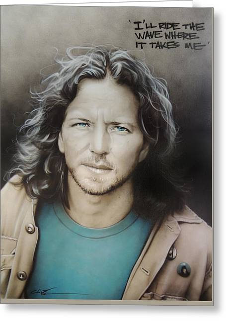 ' Eddie Vedder ' Greeting Card by Christian Chapman Art