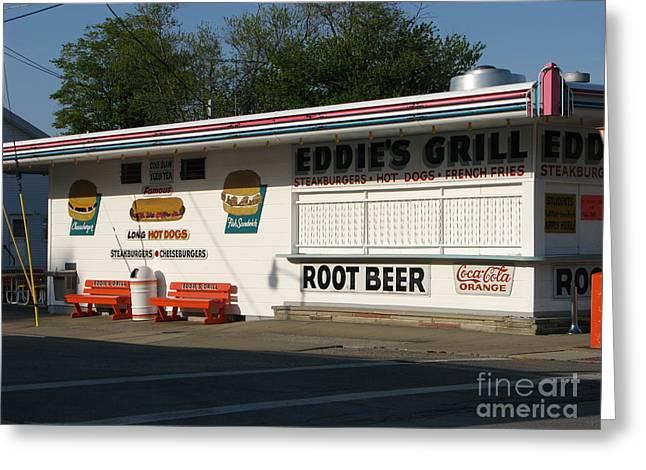 Eddie's Grill Greeting Card by Michael Krek