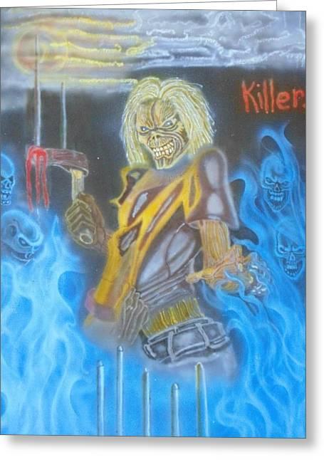 Eddy Iron  Maiden  Greeting Card by Stuart Meek