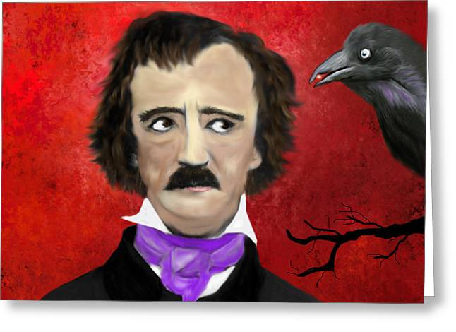 Edgar Allan Poe And The Raven Greeting Card