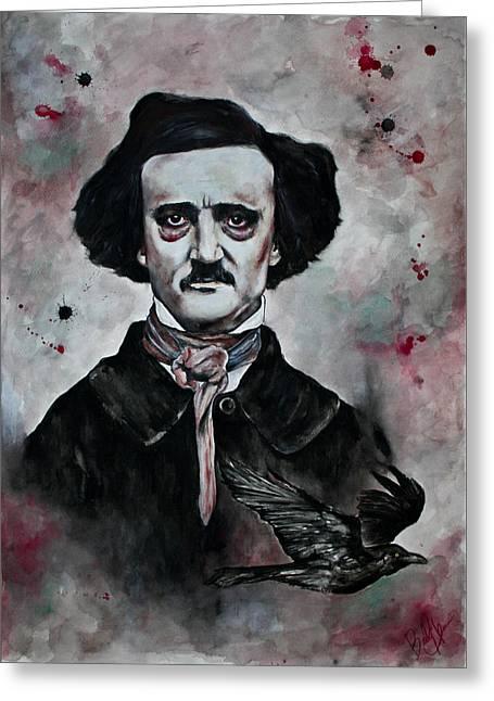 Edgar Allan Poe Greeting Card by Bella  Harris