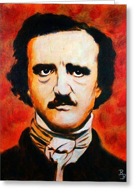 Greeting Card featuring the painting Edgar Allan Poe by Bob Baker