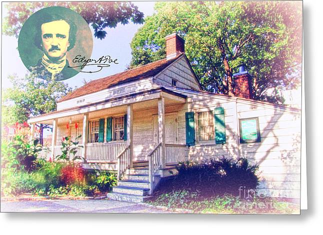 Edgar Allan Poe Cottage With Signature Greeting Card by Nishanth Gopinathan
