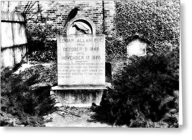 Edgar Allen Poe Grave Site Baltimore Greeting Card by Bill Cannon