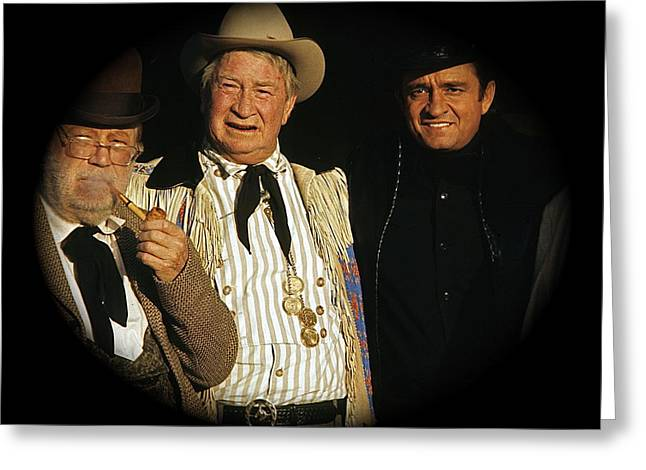 Greeting Card featuring the photograph Edgar Buchanan Chills Wills  Johnny Cash Porch Old Tucson Arizona 1971-2008 by David Lee Guss
