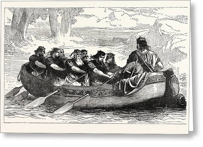 Edgar The Peaceable Being Rowed Down The Dee By Eight Greeting Card by English School