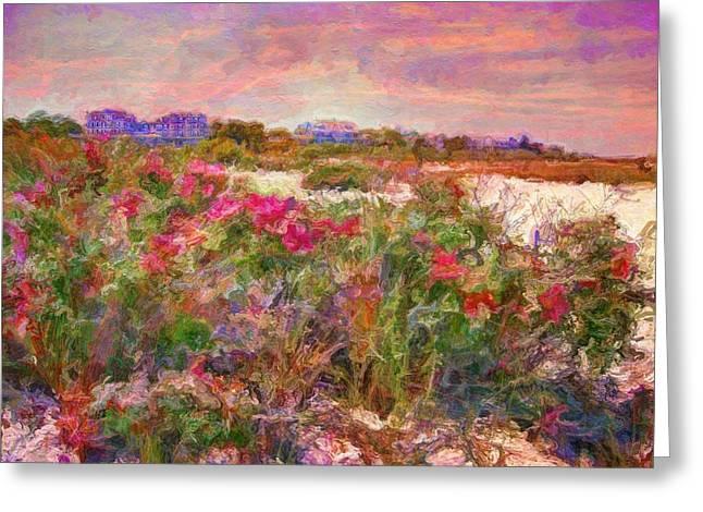 Edgartown Shoreline Roses - Horizontal  Greeting Card