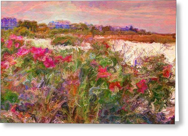 Edgartown Shoreline Roses - Square Greeting Card