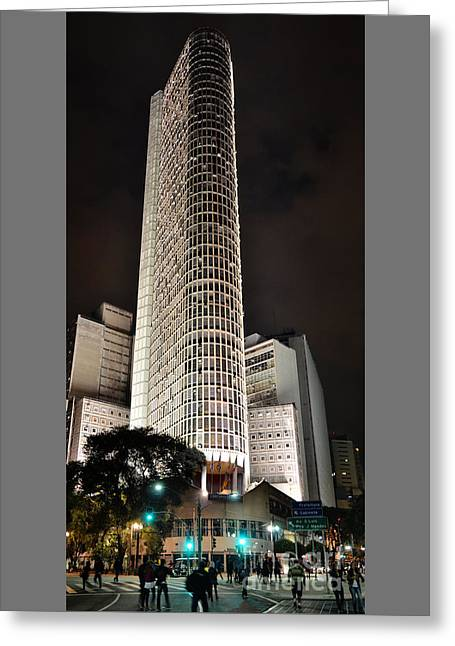 Edificio Italia By Night Greeting Card