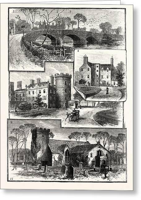 Edinburgh 1. Old Saughton Bridge 2. Old Saughton House 3 Greeting Card by English School