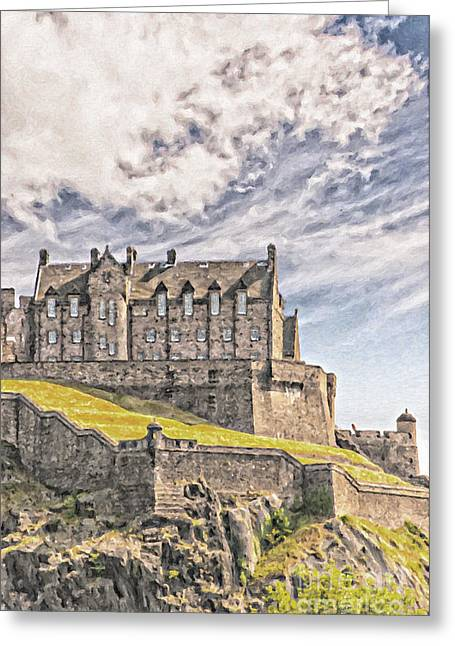 Edinburgh Castle Painting Greeting Card by Antony McAulay