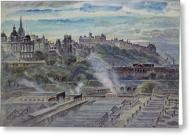 Edinburgh From Near St. Anthonys Chapel On The North-west Shoulder Of Arthurs Seat, 19th Century Greeting Card by John Gendall