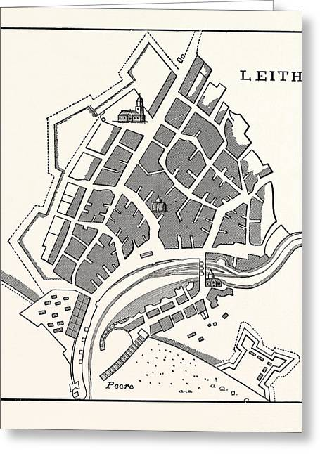 Edinburgh Plan Of Leith Showing The Eastern Fortifications Greeting Card by English School