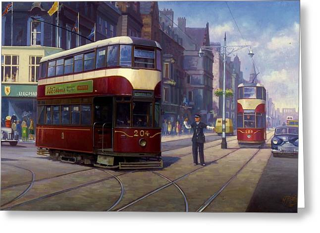 Edinburgh Tram 1953. Greeting Card by Mike  Jeffries