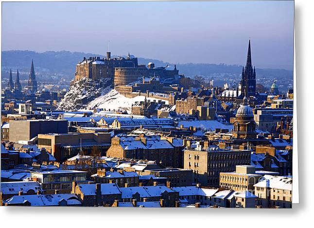 Greeting Card featuring the photograph Edinburgh Castle Winter by Craig B