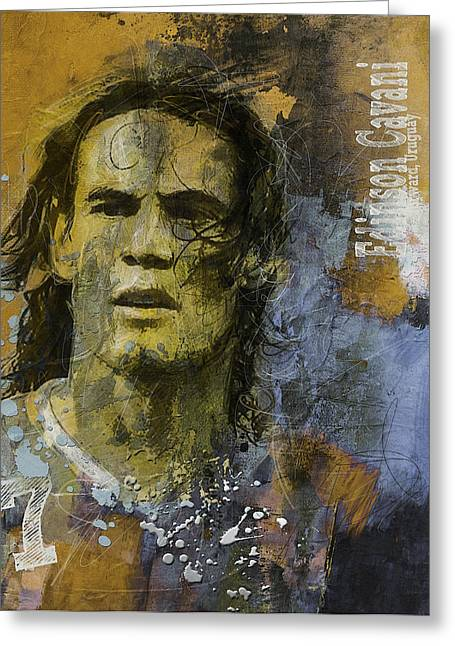 Edinson Cavani - B Greeting Card by Corporate Art Task Force